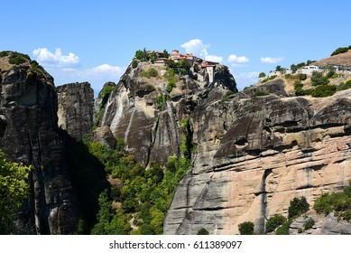 majestic views of Meteora rocks in Greece on a hot summer day