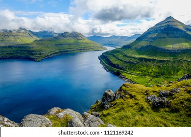 Majestic views over the fjords of Funningur, Faroe Islands