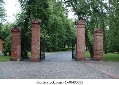 majestic vintage gate entrance into mystic park