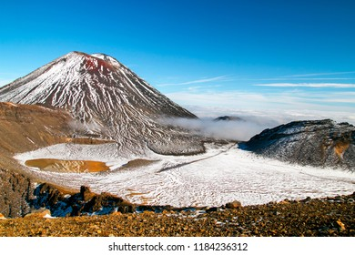 Majestic volcanic valley, the Devil's Staircase and famous Mount Ngauruhoe, Spectacular scenic view from the South Ceater, tramping and hiking at Tongariro National Park, North Island of New Zealand