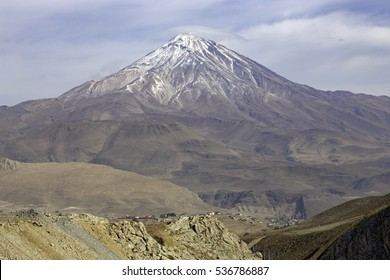 Majestic volcano Damavand, highest peak in Polur, Iran