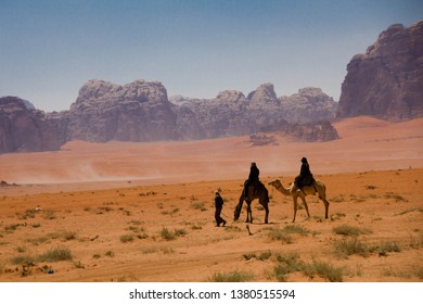 Majestic Wadi Rum, aka Valley of the Moon, a protected nature reserve with dramatic sandstone mountains and granite rock. The largest wadi in Jordan, north east to Aqaba.