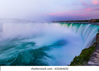Majestic Waterfall Niagara Fall Under the Twilight Sky's Purple Glow