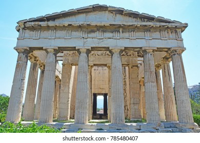 The majestic and well preserved ancient Greek Temple of Hephaestus near to the Athens Acropolis, Greece
