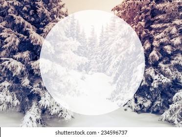 Majestic winter landscape glowing by sunlight. Dramatic wintry scene. Carpathian, Ukraine, Europe. Beauty world. Creative design. Retro filter. Instagram toning effect. Happy New Year!