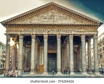 the majesty of the Pantheon in Rome with its imposing columns and ancient walls