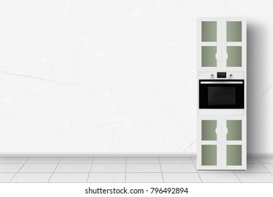 Major appliance - Home appliance - Kitchen case with an oven in front of white wall background.