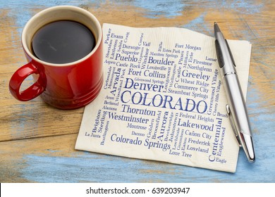 major cities of Colorado (with population more than 5000) word cloud - handwriting on a napkin with a cup of coffee