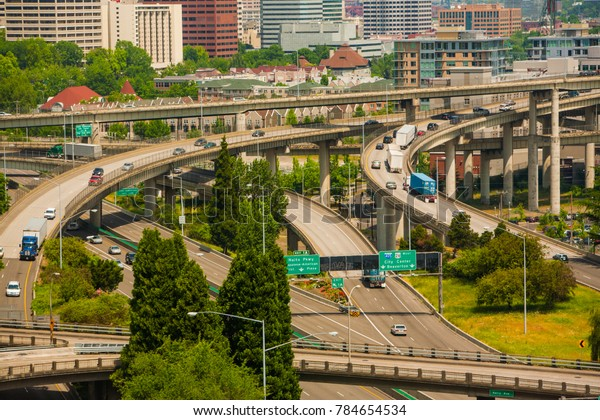 The major freeway interchange in Portland, Oregon - Interstate highways I-5, 1-405 and I-84 intersect here.