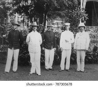 Major General Arthur MacArthur and his staff in the Philippines, 1898. The father of Gen. Douglas MacArthur, served in the Civil War, Indian Wars, and Spanish American War. Both Arthur and his son Do