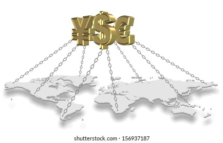 Major golden currency symbols holding world with chains / Money holding world