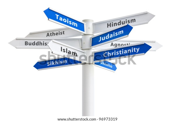 Major religions of the world on a crossroads sign. Featuring: Christianity, Islam and Judaism