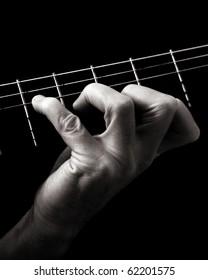 Major seventh chord (Gmaj7) (GM7) on classical guitar; toned monochrome image