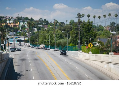 Major thoroughfare from the Silverlake district of Los Angeles to Glendale. The Rowena Reservoir is on the right