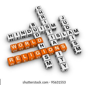 major world religions - Christianity, Islam, Judaism, Buddhism and Hinduism
