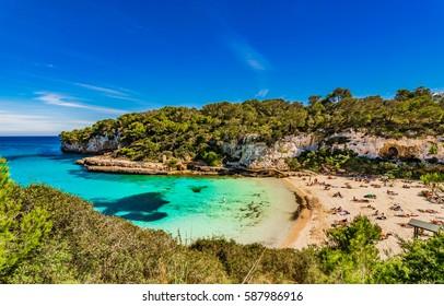 Majorca beach summer holiday, beautiful seascape of Cala Llombards, Spain Balearic Islands, Mediterranean Sea.