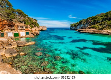 Majorca Cala Llombards Santanyi beach in Mallorca, Balearic Islands Spain, Mediterranean Sea.