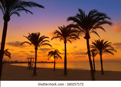 Majorca El Arenal sArenal beach sunset near Palma de Mallorca in Balearic Islands spain