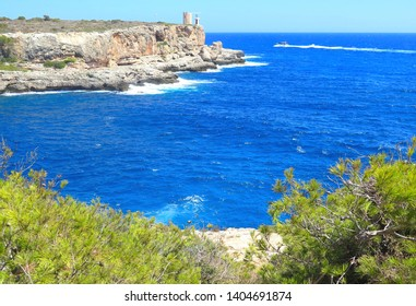 Majorca island, panoramic view of the bay Portals Vells, beautiful coastline with boats, Spain Mediterranean Sea, Balearic Islands.