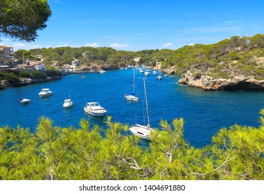 Majorca island, panoramic view of the bay Portals Vells, beautiful coastline with many boats, Spain Mediterranean Sea, Balearic Islands.