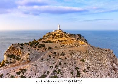 Majorca Mallorca lighthouse Cap Formentor evening landscape nature Mediterranean Sea Spain travel copy space