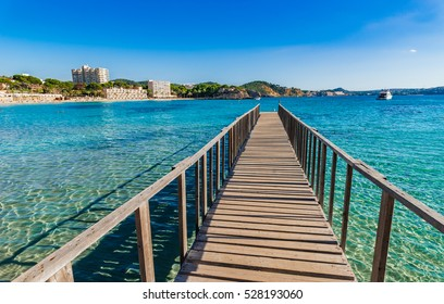 Majorca, Platja Playa de Palmira beach boardwalk, Calvia Mallorca, Balearic islands Spain.
