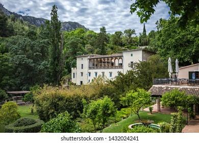 Majorca, Spain - 28.05.2019: General view of the old estate La Granja de Esporles