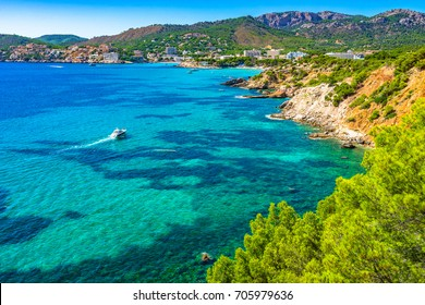 Majorca Spain, beautiful island scenery at the coastline of Calvia Mallorca, Mediterranean Sea, Balearic Islands.