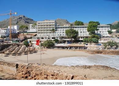 MAJORCA, SPAIN - OCTOBER 2, 2018: Molins beach at Cala San Vicente on the Spanish island of Majorca. The popular resort is made up of four separate coves.