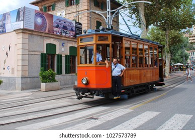 MAJORCA, SPAIN - SEPTEMBER 6, 2017: The vintage tram line at Port de Soller on the Spanish island of Majorca. The 4.8km line between Soller and Port de Soller was opened in 1913.