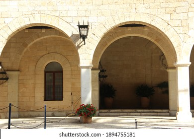 Majorca,Spain-September 06,2015 : View of outside history Gothic Palace with Arches design of  Pillar,Balcony and construction in Majorca.