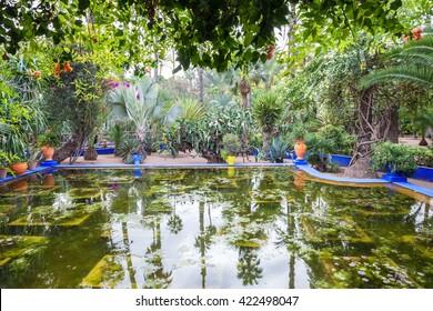The Majorelle Garden is a botanical garden and artist's landscape garden in Marrakech, Morocco.