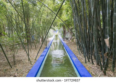 MAJORELLE GARDEN, MARRAKECH, MOROCCO, MAY 11, 2014. A water channel with blue colouring in the garden of the fashion guru Yves Saint-Laurent, in Marrakech, Morocco, on May 11th, 2014.