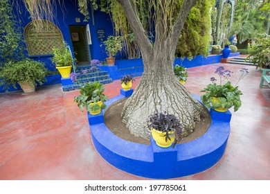 MAJORELLE GARDEN, MARRAKECH, MOROCCO, MAY 11, 2014. The blue house and red corridors in the adobe of the fashion guru Yves Saint-Laurent, in Marrakech, Morocco, on May 11th, 2014.
