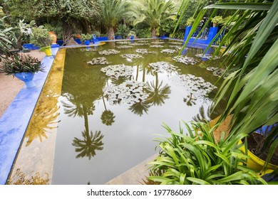 MAJORELLE GARDEN, MARRAKECH, MOROCCO, MAY 11, 2014. A pool full of water lilies in the garden of the fashion guru Yves Saint-Laurent, in Marrakech, Morocco, on May 11th, 2014.