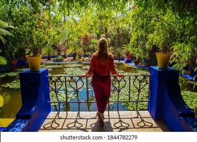 Majorelle Garden in Marrakech. An oasis in the middle of a bustling city. Marrakech, Morocco - September 19, 2019.