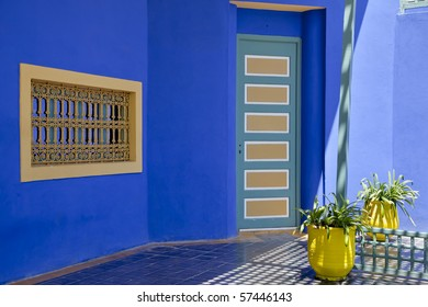 In the Majorelle gardens in Marrakesh, morocco, Yves st laurent, has built a second home which now serves as a small islamic museum