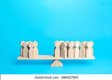 Majority and minority people are on opposite sides of the scale. Division of public opinion. Political process, democratic elections. Social studies statistics. Collective opinion polls. Support Group