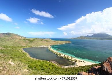 Majors Bay Beach and lagoon on Saint Kitts