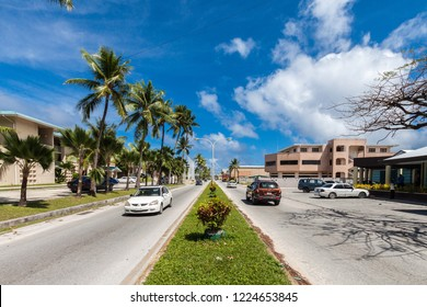 Majuro atoll, Marshall islands - Jan 3 2012: Majuro town central boulevard view. Central Business district, Marshall Islands, Micronesia, Oceania, South Pacific Ocean. Delap, Uliga, Djarrit villages.