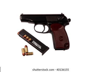 makarov system pistol with bullets isolated on white background