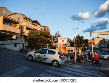 MAKARSKA, CROATIA - 22 JUNE,2017: Popular travel destination for summer vacation.Street cafe & rental apartments on background