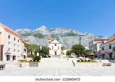 Makarska, Dalmatia, Croatia, Europe - AUGUST 23, 2017 - Some tourists visiting the marketplace of Makarska