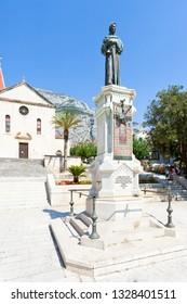 Makarska, Dalmatia, Croatia, Europe - AUGUST 23, 2017 - Statue of Haran Narod in Makarska