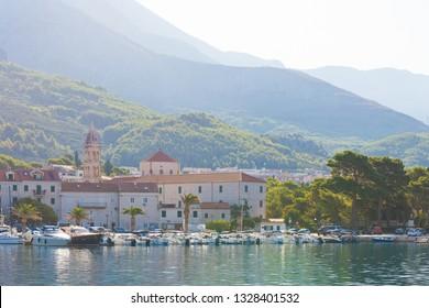 Makarska, Dalmatia, Croatia, Europe - AUGUST 24, 2017 - Several boats in the harbour of Makarska