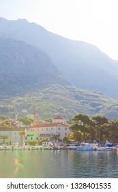 Makarska, Dalmatia, Croatia, Europe - AUGUST 24, 2017 - View across the harbor of Makarska