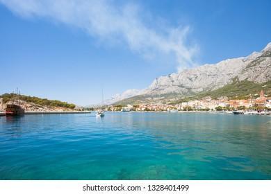 Makarska, Dalmatia, Croatia, Europe - Impressive view across the bay of Makarska