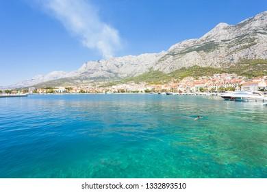 Makarska, Dalmatia, Croatia, Europe - Overview across the beautiful bay of Makarska