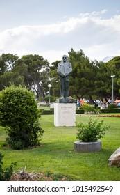 MAKARSKA,CROATIA-17 JUNE,2017:Monument of Franjo Trudman,famous Croatian politician and historian.