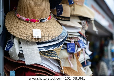 4c14a93c6878ea MAKARSKACROATIA 18 JUNE 2017 Female Straw Hats On Sale Stock Photo ...